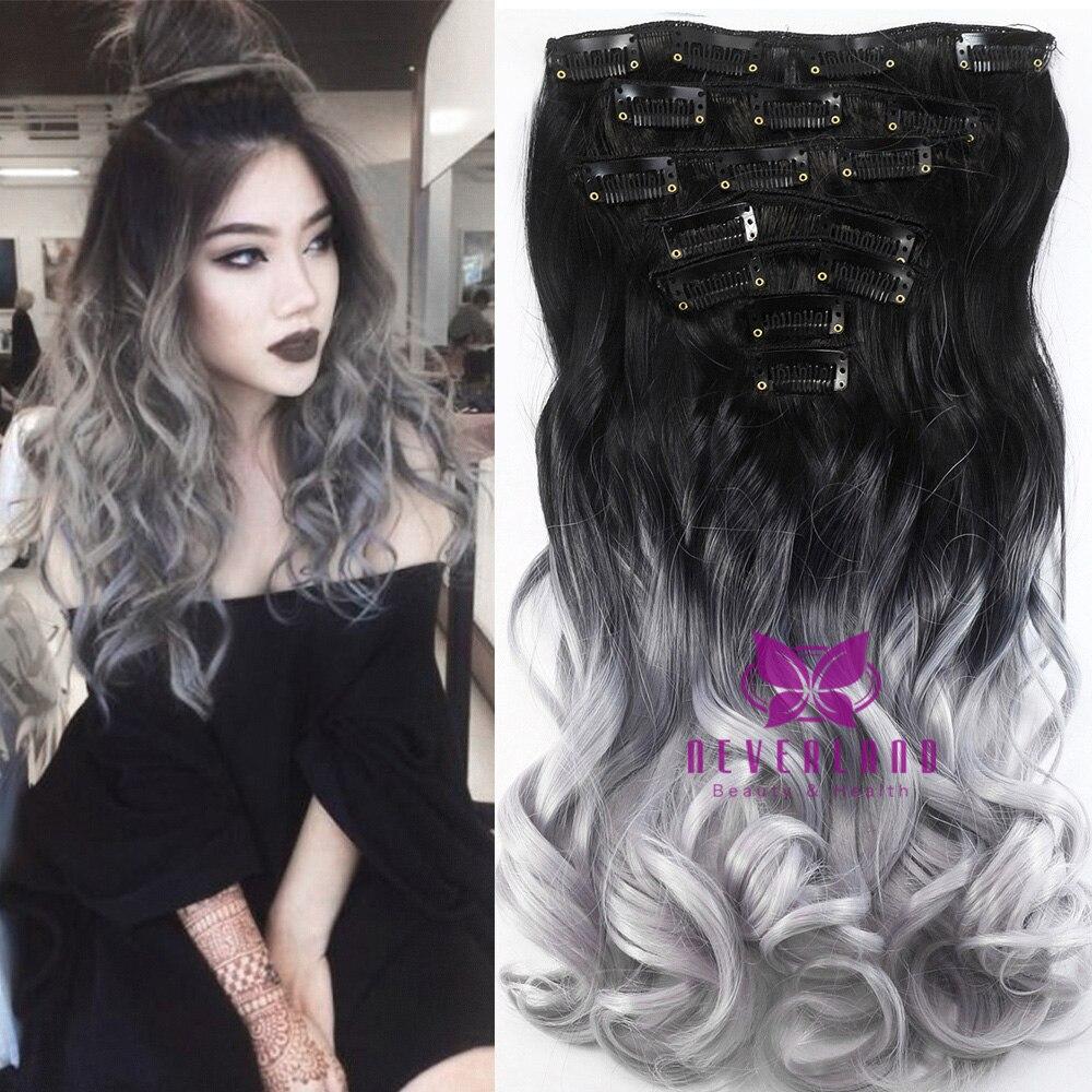 7pcs silver grey 4 color 20 50cm wavy curly clip in extension 16clips de cheveux - Dcoloration Cheveux Colors