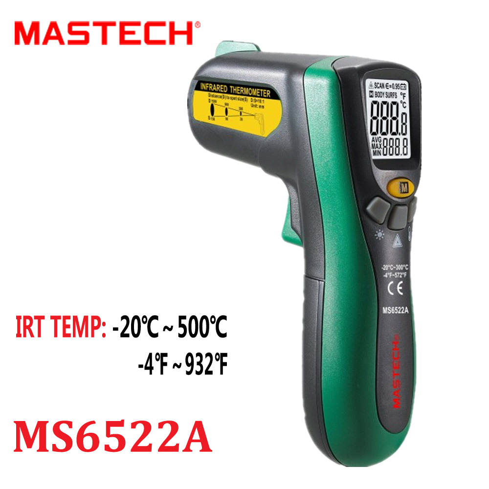 Infrared Termometer Mastech MS6522A Portable LCD Digital Thermometer 10:1(D:S) Non-contact Handheld Laser Tester Diagnostic-tool  цены
