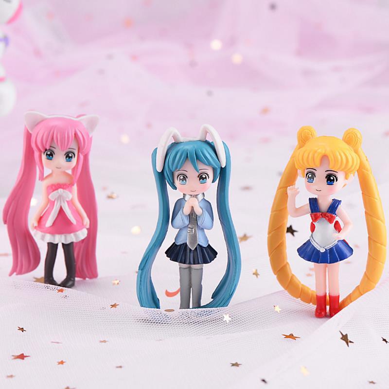 1 Pc Kawaii Cartoon Long Hair Beautiful Girl Model Action Figure Toy DIY Resin Craft Ornament Doll Toy-0