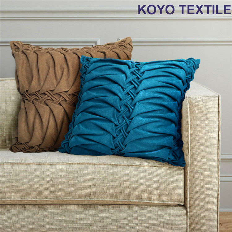 Modern Fashion Luxury Decorative Handmade Pintuck Pleated Geometry Faux Suede Sofa 3D Cushion Cover Throw Pillow Cover Case