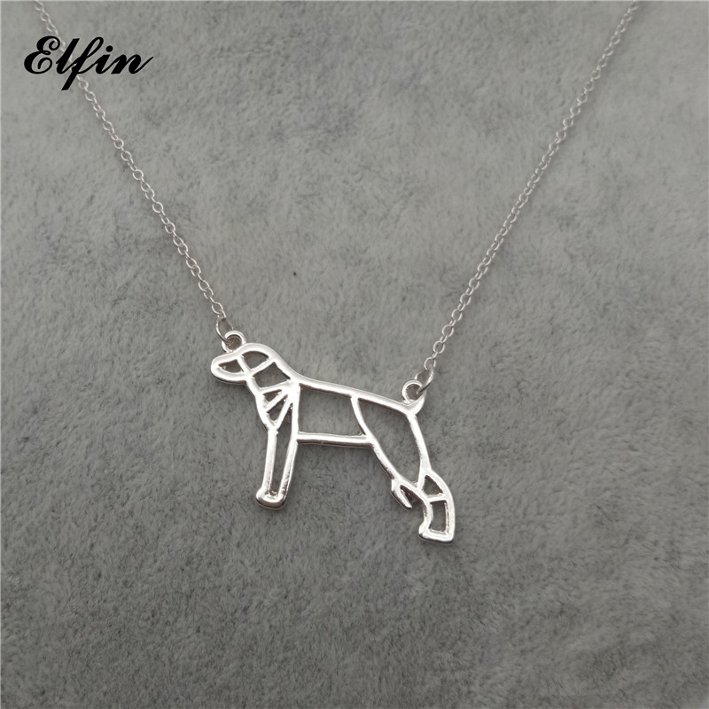 Elfin Trendy Origami Whippet Necklace Geometric Jewellery Origami Greyhound Pendant Necklace Pet Jewellery Women Steampunk