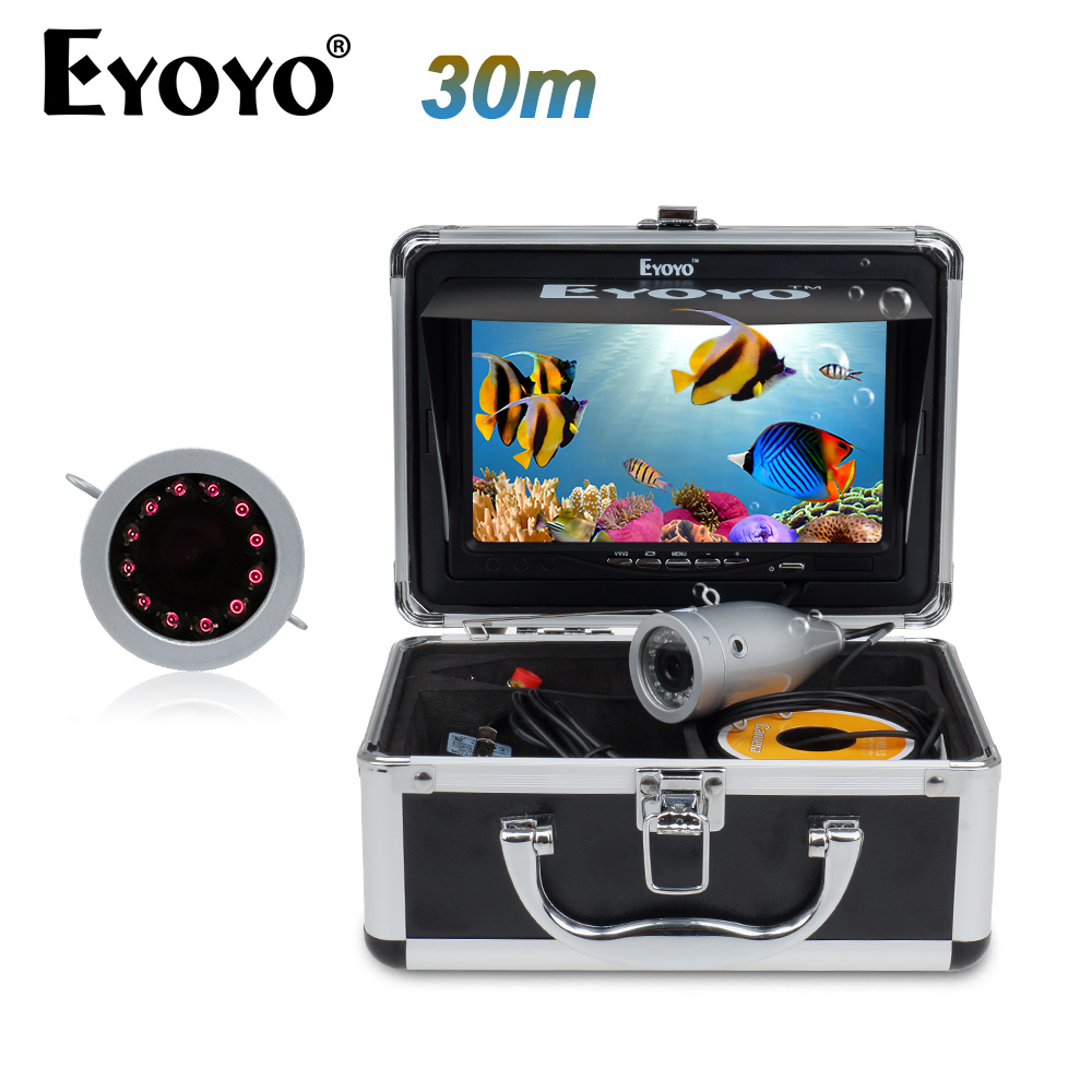 Eyoyo 30M 1000TVL Full Silver Underwater Camera for Fishing 12Pcs Infrared IR LED 7