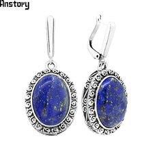 Lapis Lazuli naturais Brincos Caracol Pingente de Flor Para As Mulheres Do Vintage de Prata Antigo Banhado Moda Jóias Presente Do Aniversário