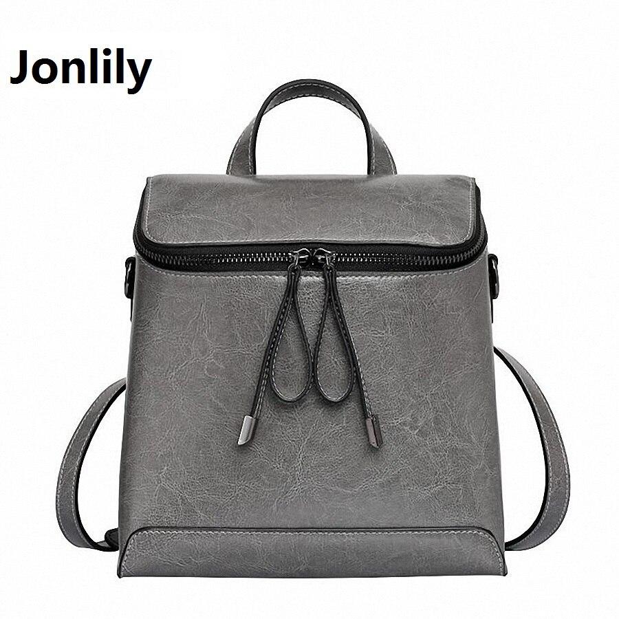 Jonlily Women Genuine Leather Backpack Women s Backpacks for Teenage Girls Ladies font b Bags b