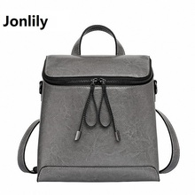 Jonlily Women Genuine Leather Backpack Women's Backpacks for Teenage Girls Ladies Bags with Zippers School bag Mochila SLI-281