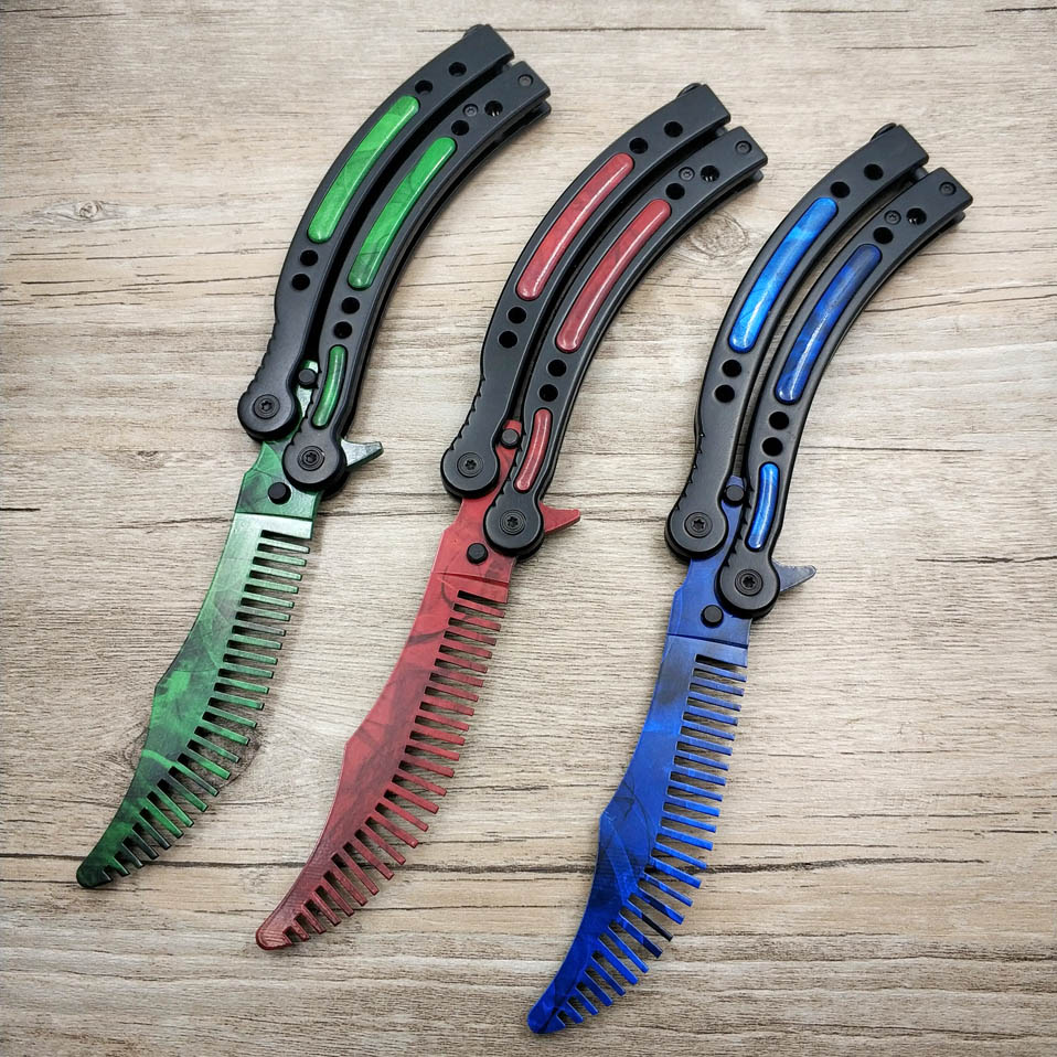 Dropshipping Red Butterfly In Knife CS GO Karambit Knife Practice Blue Folding Knife Butterfly Trainer Game Knife Comb Blade