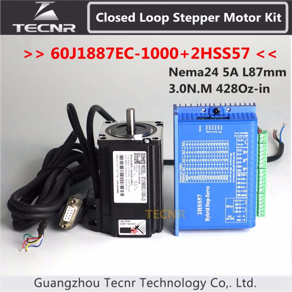 60J1887EC-1000+2HSS57 Nema24 Hybird Closed Loop Stepper Motor Kit 3.0N.m 428Oz-in 2 phase stepper motor driver closed loop 2n m nema 23 2 phase step servo driver kit stepper driver 2hss57 motor 57j1880ec 1000 sm742 sd