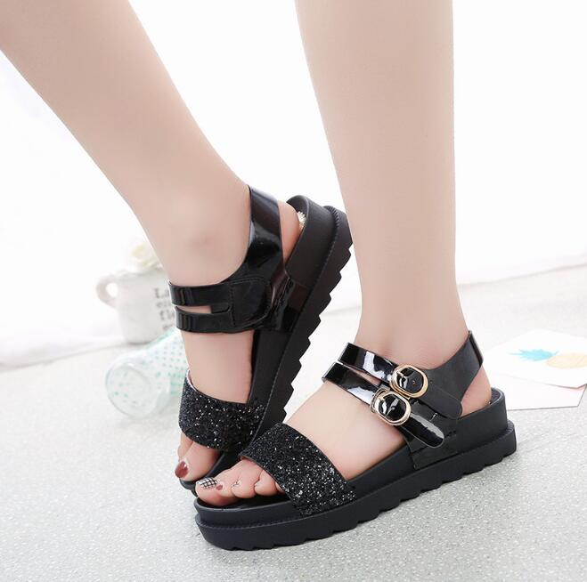 0bba5f2a5197 2018 Summer Girls Sandals Women Junior High Schoo Ms. Sandals Little girl Flat  Wild shoes Sandals Slippers Footwear -in Low Heels from Shoes on ...