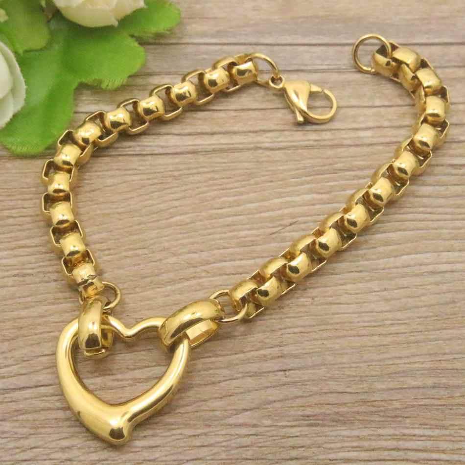 Nowa hurtownia mody ze stali nierdzewnej naszyjnik w kształcie serca i bransoletka zestawy biżuterii dla kobiet SGEEACCF