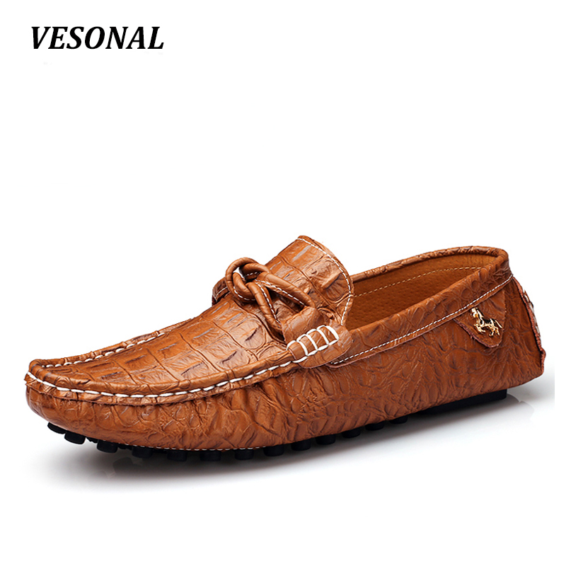 VESONAL 2017 Summer Luxury Genuine Leather Flats Loafers Men Shoes Casual Fashion Slip On Driving Breathable Size 38-44 V9669 big size 39 48 men flats summer genuine leather loafers breathable driving shoes moccasines slip on male casual shoes xk032808