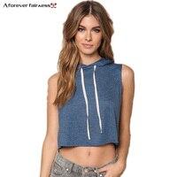 Sweatshirt Women 2016 Sports New Fashion Hooded Drawstring Sleeveless Blazer T Shirt Hoodies Tracksuit Women NC