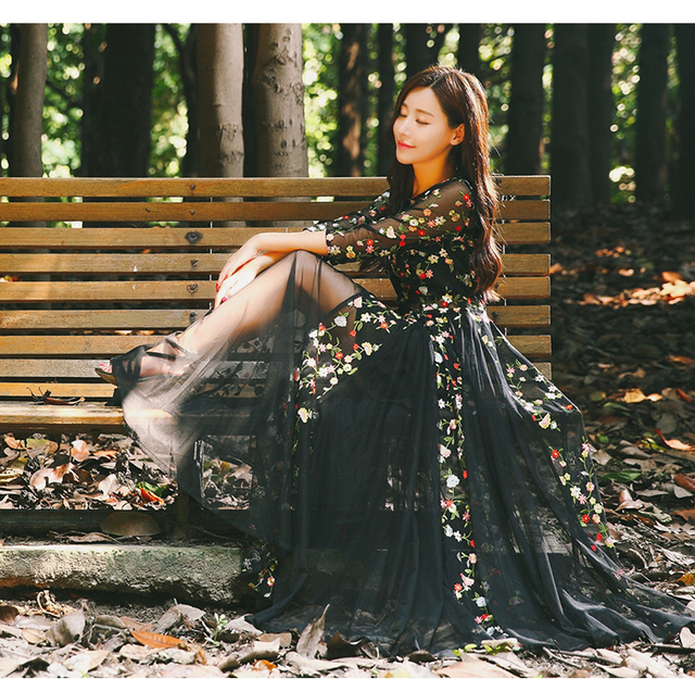 Vintage Mori Girl Lace Embroidery Fairy Full Dress Robe Courte Longue Femme  HIppie Boho Gothic Black