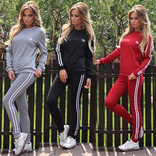 Women Fashion Long Sleeve Casual Set Tracksuit Pullover Sweatshirt Pants
