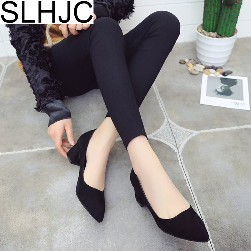 SLHJC Med Heel Casual Pumps Shoes Women Pointed Toe Square Heel Slip On 2018 Office Work Shoes 5 CM Heels Spring Autumn Pump 2017 shoes women med heels tassel slip on women pumps solid round toe high quality loafers preppy style lady casual shoes 17