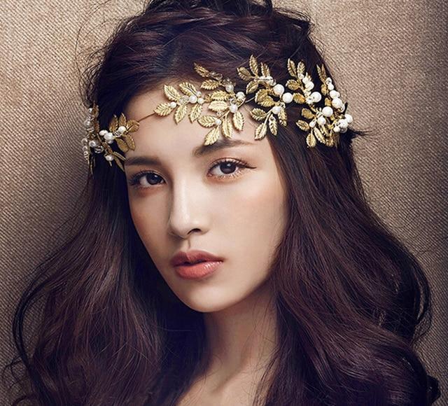 a117d9ffad7 Metting Joura Wedding Party Romantic Gold Metal Leaf Cream Pear Headband  Bride Handmade Hair Jewelry Bridal Hair Accessories