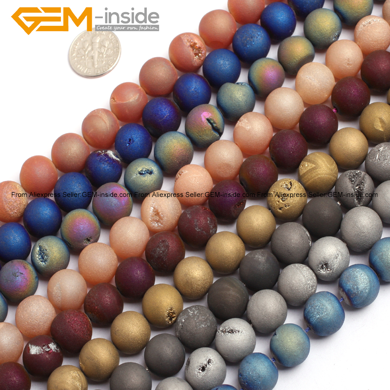 Gem-inside 12mm Natural Druzy Drusy Geode Druzy Rock Crystal Quartz Coated Agates Beads For Jewelry Making 15 DIY Jewellery