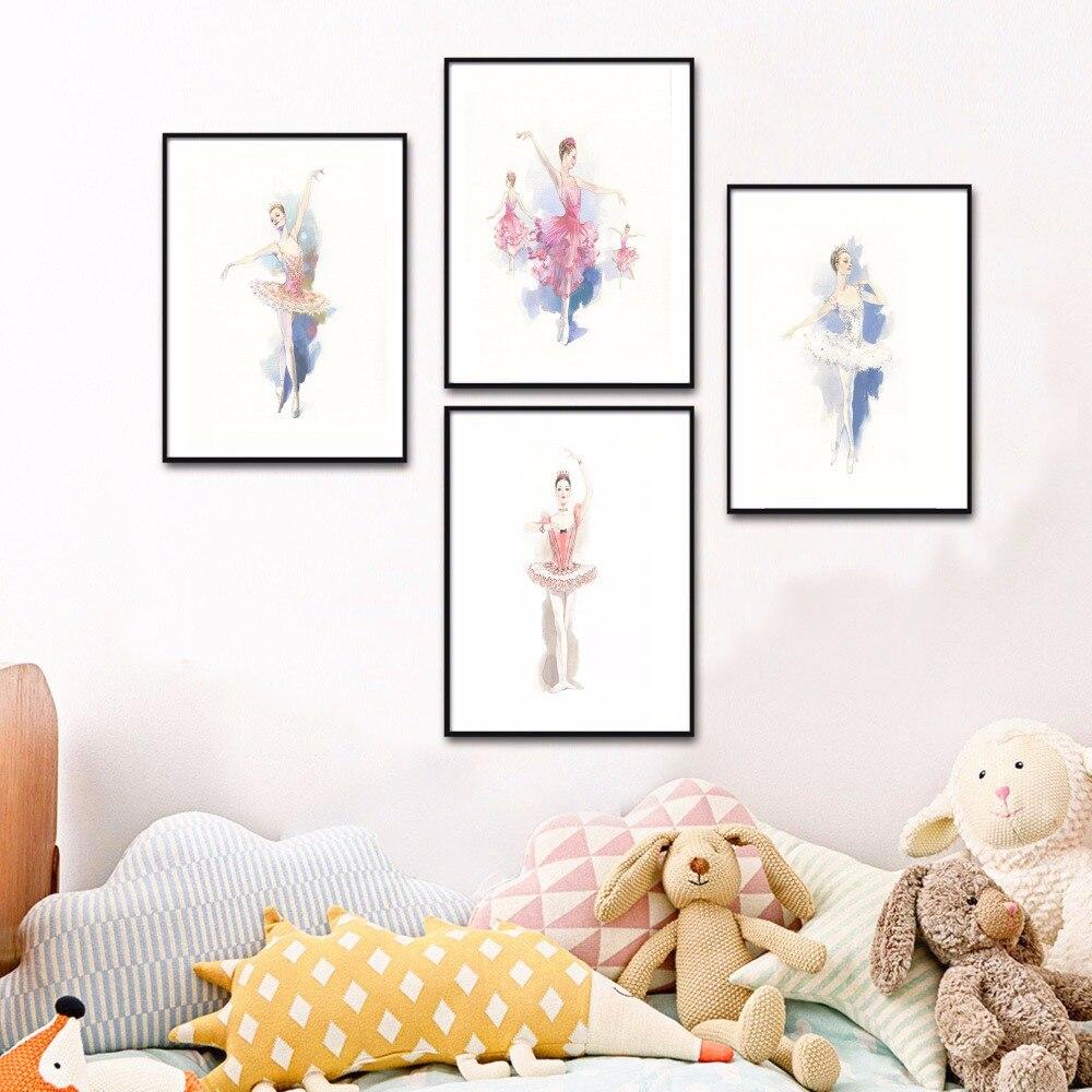 ballett prinzessin aquarell leinwand kunstdruck malerei poster mauerbilder f r kinderzimmer home. Black Bedroom Furniture Sets. Home Design Ideas