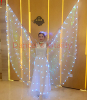 360 open degrees LED butterfly lamp wings cape performance props arab egypt costume accessory phase colored ball free shipping