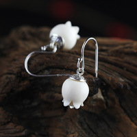 S925silver lady pure hand carved white earrings pomegranate flowers