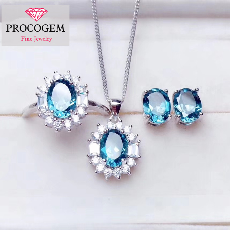 Natural Blue Topaz Fine Jewelry sets for women girls Gift Genuine Gemstones with zircon Necklace Ring Earrings S925 silver #277