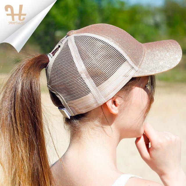4e9d33993b1 FURTALK Drop Shipping 2018 New Fashion Sparking Baseball Cap For Women  Ponytail Messy Bun Cap Mesh