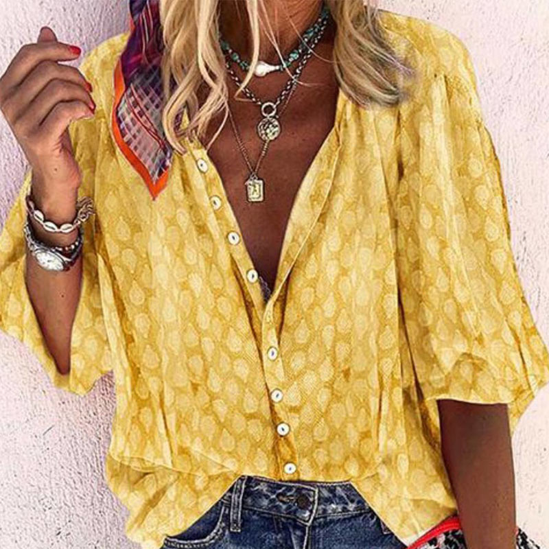 Women's V-Neck Midi Sleeve Print Floral Blouse Solid Button Loose Femmes Tops 2020 Lady Casual Vintage Blouses Top Clothes 1