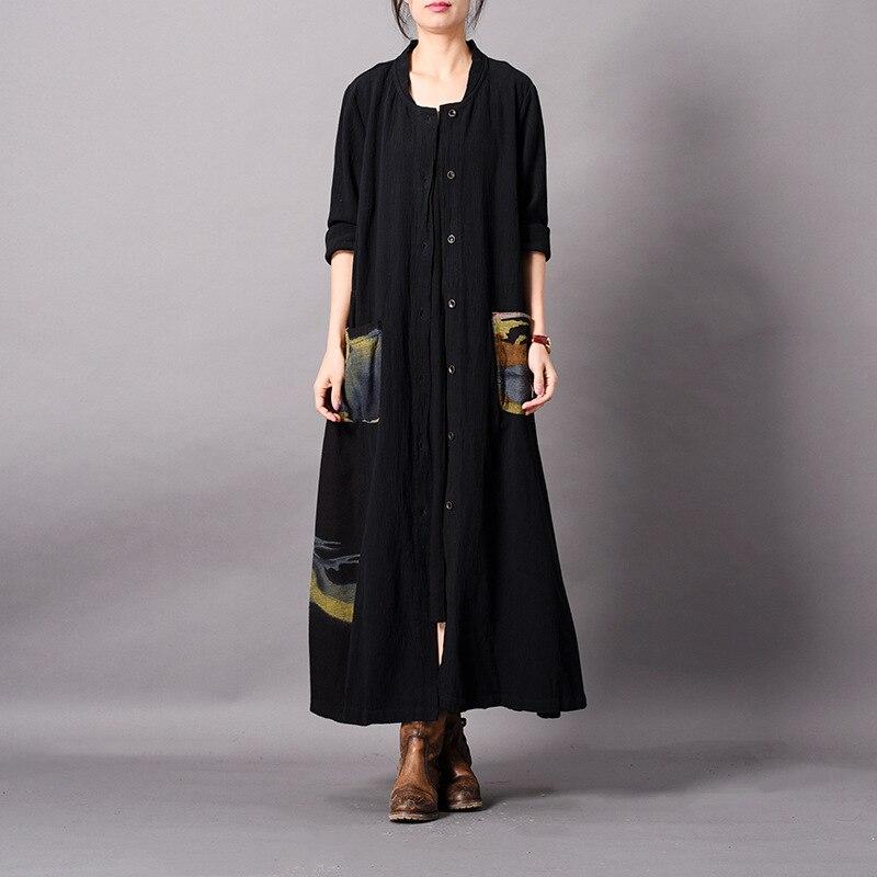 Kadın Giyim'ten Siper'de Johnature Sonbahar Trençkot Kadınlar Için 2019 Yeni Vintage Mandarin Yaka Uzun Kollu Tek Göğüslü Giyim Uzun Baskı Ceket'da  Grup 1