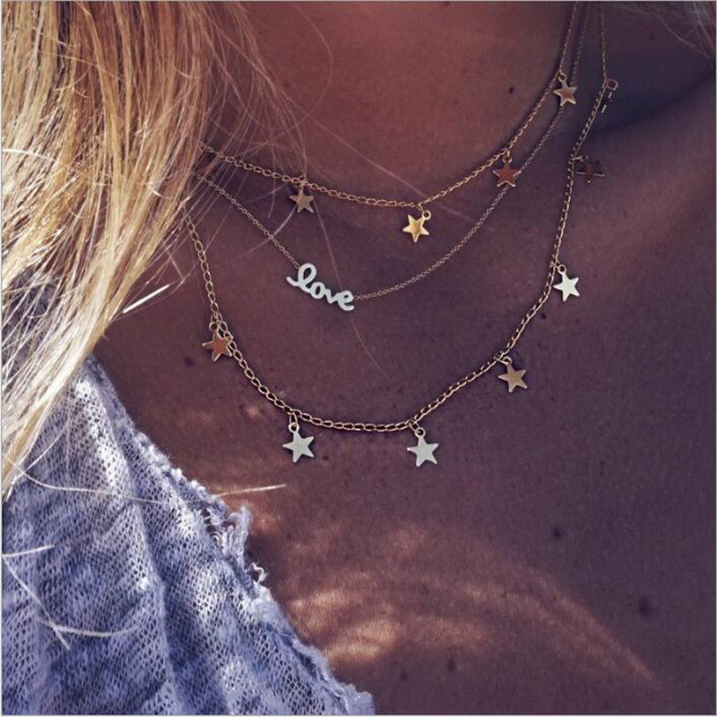 RscvonM Boho Multi Layer Love Letter Star Hollow Pendants For Women Long Chains Necklace Alloy Fashion Collares Love Jewellery