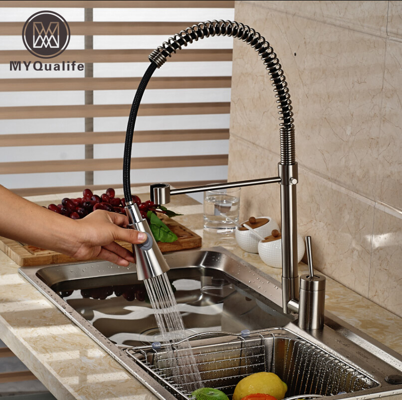 Brushed Nickel Kitchen Sink Bar Mixer Tap Single Lever Rotation Pull Down Kitchen Faucet with Hot
