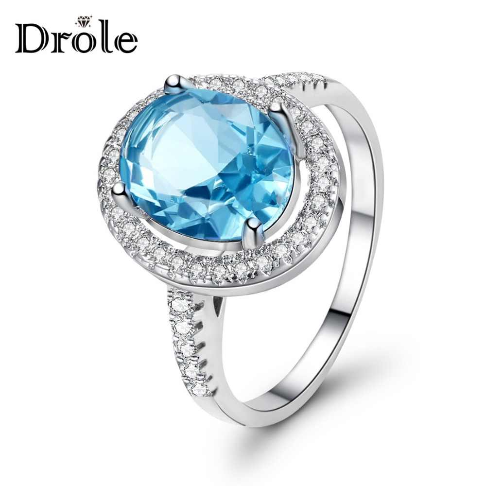 6 Color Big Blue Oval Zircon Stone Silver Ring for Women Wedding Engagement Jewelry Valentine's Day Gift 2019