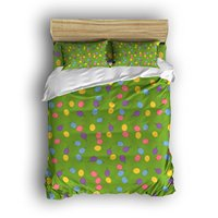 4 Piece Bed Sheets Set, Multicolor Air Balloons on Green Background, 1 Flat Sheet 1 Duvet Cover and 2 Pillow Cases