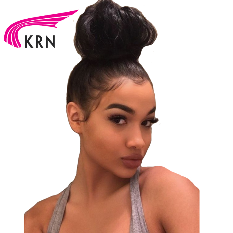 KRN Brazilian 360 Lace Frontal Human Hair Wigs With Baby Hair 4X4 Straight Remy Hair Glueless