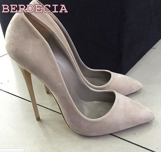 ФОТО Real Photo Hot Selling Grey Suede Leather Pointed Toe High Heel Women Pumps Designer Party Dress Shoe Size 34-41Stiletto Heels
