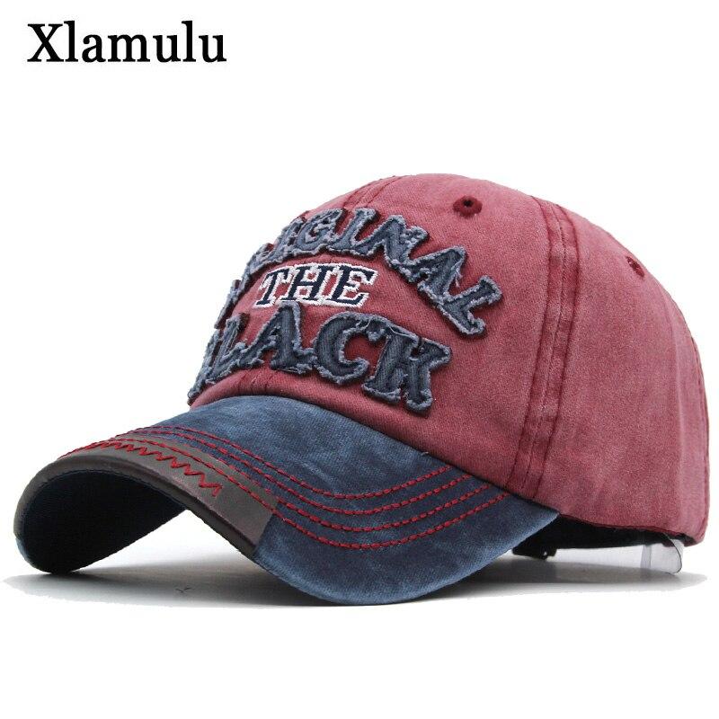 Xlamulu Hot Retro   Baseball     Caps   Hats For Men Casquette Brand Women Snapback   Caps   Washed Bone Men Hat Gorras Letter Black   Cap