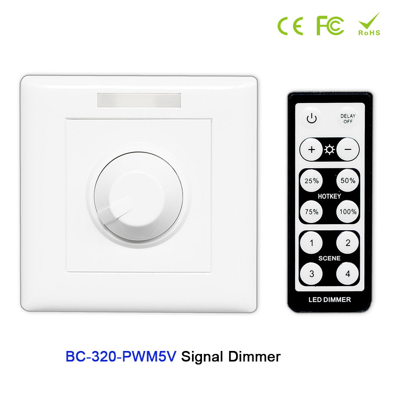 цена на BC AC85-265V Wall-mounted Knob style led PWM 5V/PWM 10V Signal Dimmer Controller+IR remote use for led strip tape