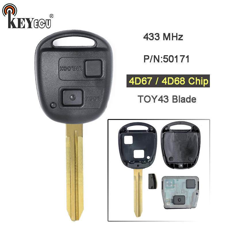 KEYECU 1x /2x 433MHz 4D67 / 4D68 Chip Replacement 2 Button Remote Car Key Fob TOY43 Blade for Toyota Prado 120 RAV4 Kluger RAV4 keyyou 2 button uncut replacement plastic remote car key shell cae fob blank keys for toyota corolla rav4 toy43 blade