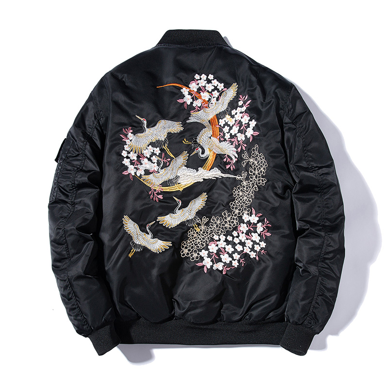 Embroidery Bomber Jacket Men Thin Bird Floral Pilot Jacket Male Japan Harajuku Baseball Jacket Spring Autumn Streetwear 2019|Jackets| - AliExpress