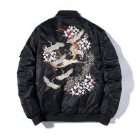 Embroidery Bomber Jacket Men Thin Bird Floral Pilot Jacket Male Japan Harajuku Baseball Jacket Spring Autumn Streetwear 2019