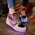 Durante la primavera y el otoño 2016 de la marca de zapatos de alta ayuda de la edición de han mujeres resplandor colorido luminoso LED zapatos casuales size35-39