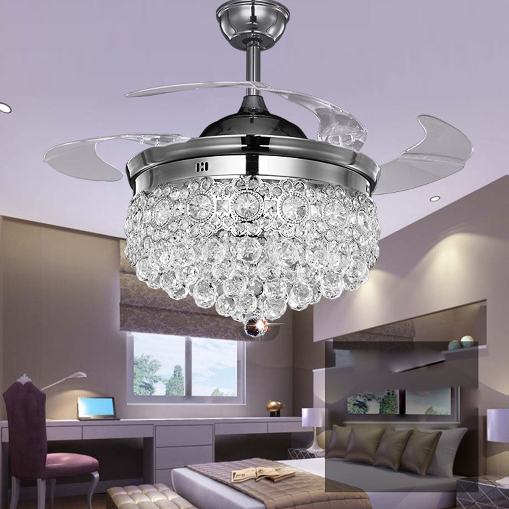 LED Modern Steel Crystal ABS Chrome Gold Ceiling Fan.LED Lamp.LED Light.Ceiling Lights.LED Ceiling Light.For Foyer Bedroom