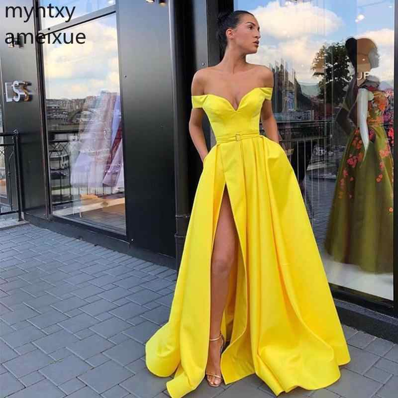 d6cb17baafadd New Custom Sexy Yellow Prom Dresses Off The Shoulder Simple Satin Front  Split Gowns Long Women Formal Party Cheap Robe De Soiree