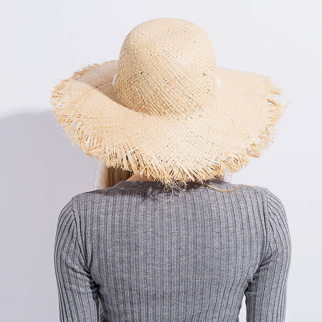 Simple Fashion Women Summer Hats Large Raffia Straw Hat Lace Ribbon Lace-Up Beach Caps Fashion Ladies Panama Sun Hat for Girl 2