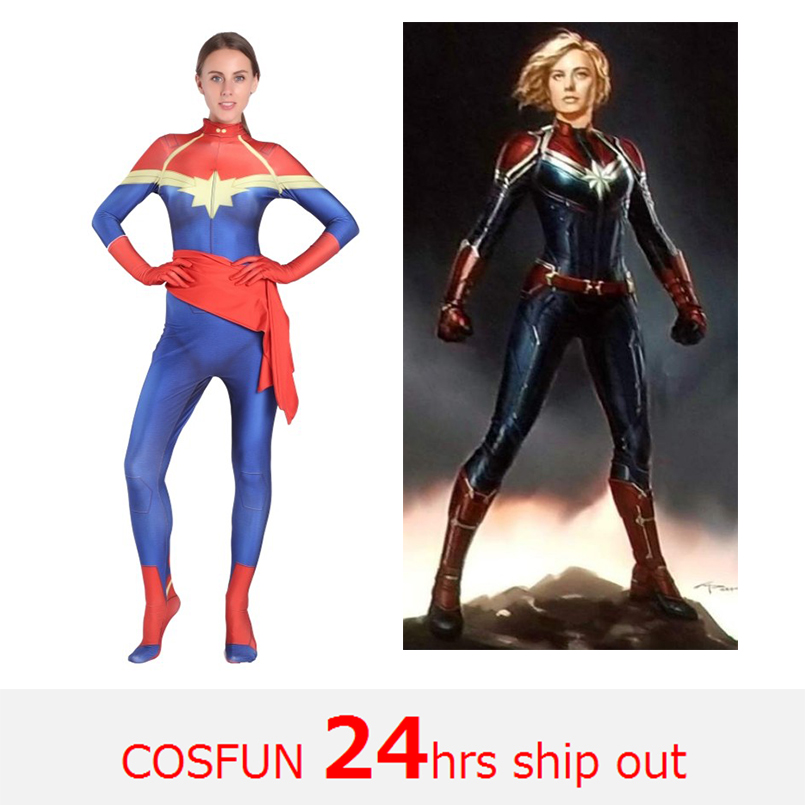 Captain Marvel Ms. Marvel Cosplay Costumes Marvel Super-Heroes Movies costumes Bodysuits Halloween Costumes 24 Hrs Shipped Out