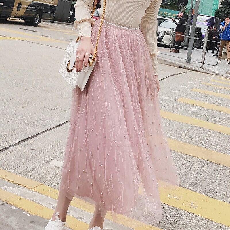 ONLYWONG Women High Waist Pleated Beading Half Length Elastic Skirt Lady Black Pink Mesh Midi Skirt Women's Tulle Plain Skirts