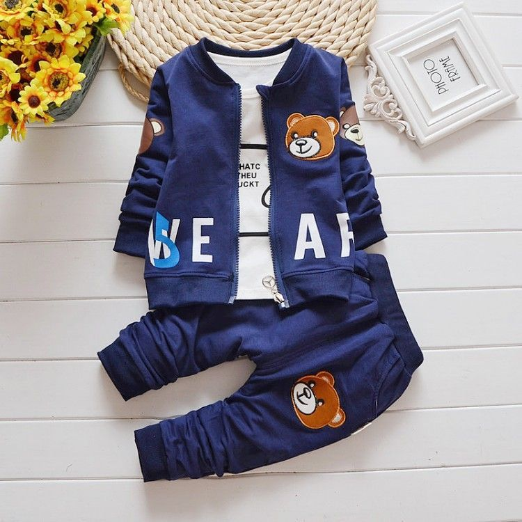 Spring Kids Boys Clothes New Pattern Male Girl Full Cotton Cartoon Little Bear Three-piece Child Suit Clothing Set Childrens 2014small little girl homemade parent child clothes for mother child bugs bunny cartoon one piece dress baby sweatshirt