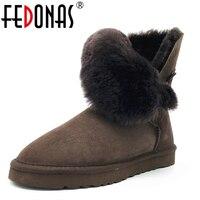FEDONAS Women Boots 100% Sheepskin Mid-calf Warm Winter Snow Boots Sheep Fur Wool Boots Women Flats Genuine Leather Shoes Woman