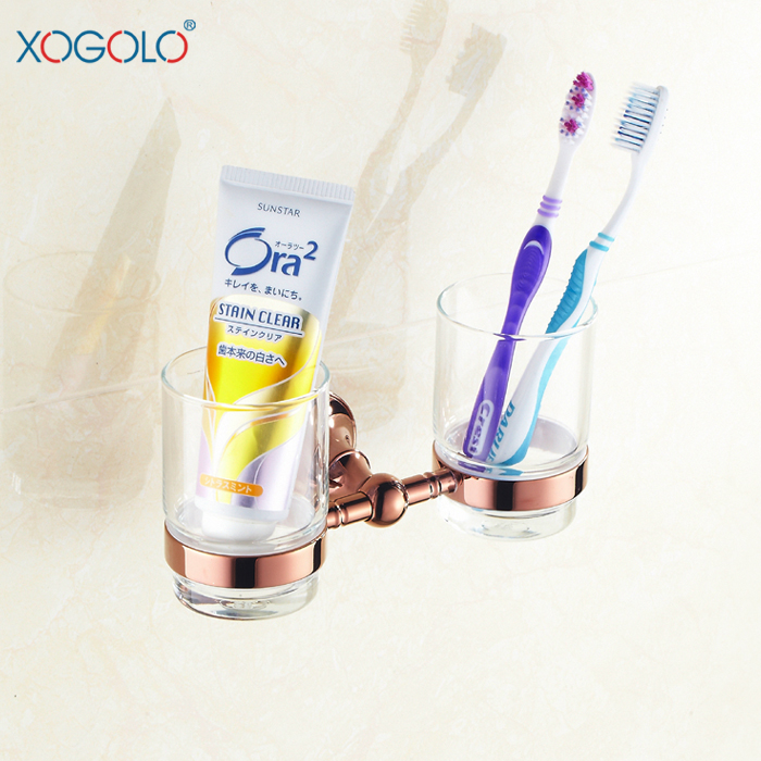 Xogolo copper bathroom rose gold double cup holder shukoubei glass toothbrush cup holder 4068 image