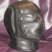 PVC Leather Eye Mask Hood Headgear Bondage Slave Adult Products Sex Toys For Women Men Gay Fetish Couples Flirting