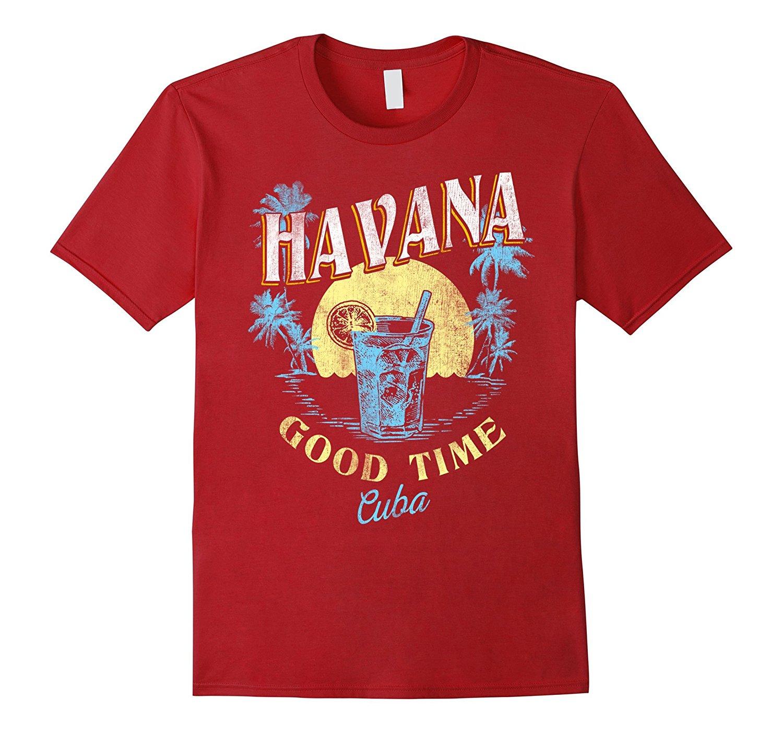 Гавана Куба хорошее время пляж Закат Винтаж путешествия футболка