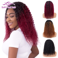 Soft Feel Hair 4*4 Ombre Lace Closure Wig Remy Lace Front Human Hair Wigs For Black Women 99J Burgundy Brazilian Kinky Curly Wig